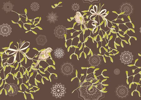 Seamless pattern, background. Mistletoe, Robin bird and ribbon. Graphic drawing, engraving style. Vector illustration.. 일러스트