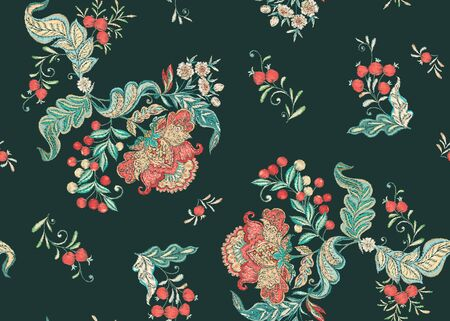 Fantasy floral seamless pattern in jacobean embroidery imitation, vintage, old, retro style. Vector illustration in soft coral and turquoise colors.