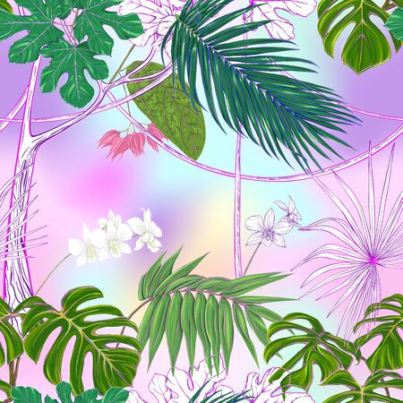 Tropical plants and white orchid flowers. Seamless pattern, background. Colored vector illustration. In light ultra violet pastel colors on mesh pink, blue background