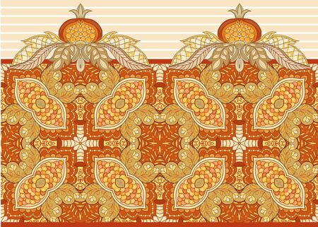 Fantasy floral seamless pattern in jacobean embroidery style, vintage, old, retro style. Vector illustration in soft orange and green colors Isolated on white background. 일러스트