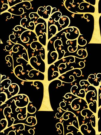 Seamless pattern, background with tree of life. In art nouveau style, vintage, old, retro style. Vector illustration in gold colors. Isolated on black background.