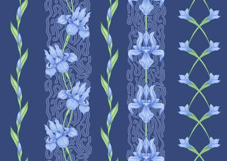 Iris flower, fleur-de-lis, flower-de-luce, flag. Seamless pattern, background. Colored vector illustration. In art nouveau style, vintage, old, retro style In blue and green colors..