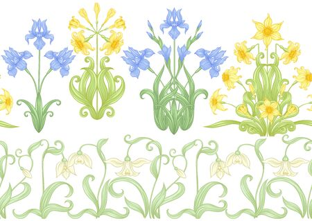Spring flowers. Narcissus, Iris, lily of the valley, may-lily, Seamless pattern, background. Vector illustration. In art nouveau style, vintage, old, retro style. Isolated on white background.. 일러스트