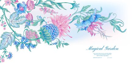 Fantasy flowers in retro, vintage, jacobean embroidery style. Template for wedding invitation, greeting card, banner, gift voucher, label. Colored vector illustration