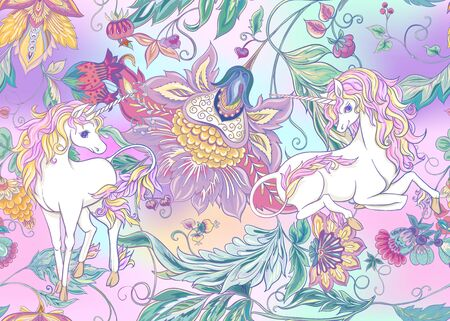 Seamless pattern with stylized ornamental flowers in retro, vintage style with unicorns. Jacobin embroidery. Colored vector illustration In pink, blue, ultraviolet colors on mesh background