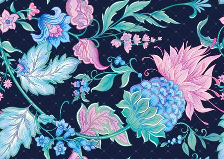 Fantasy flowers in retro, vintage, jacobean embroidery style. Seamless pattern, background. Colored vector illustration. On denim blue background..