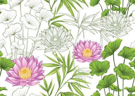Plantas y flores tropicales. Patrón sin costuras, fondo. Diseño coloreado y de contorno. Ilustración vectorial. Aislado sobre fondo blanco Ilustración de vector