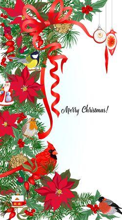 Pájaro cardenal y corona de Navidad de abeto, pino, flor de pascua Plantilla para tarjeta, banner, vale de regalo, etiqueta. Ilustración vectorial de color