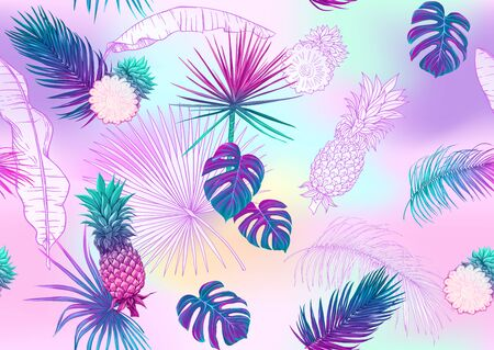 Tropical plants and flowers. Seamless pattern, background. Colored and outline design. Vector illustration in neon, fluorescent colors. On mash background..