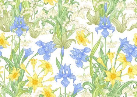 Spring flowers. Narcissus, Iris, lily of the valley, may-lily, Seamless pattern, background. Vector illustration. In art nouveau style, vintage, old, retro style. Isolated on white background