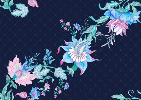 Fantasy flowers in retro, vintage, jacobean embroidery style. Seamless pattern, background. Colored vector illustration. On denim blue background.. Иллюстрация