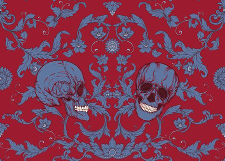 Seamless pattern, background In baroque style with human skull. Trendy floral vintage pattern in red add blue vector illustration Standard-Bild - 134676608