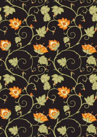 Tradition mughal motif, fantasy flowers in retro, vintage style. Seamless pattern, background. Vector illustration in beige and orange colors. Reklamní fotografie - 133894752