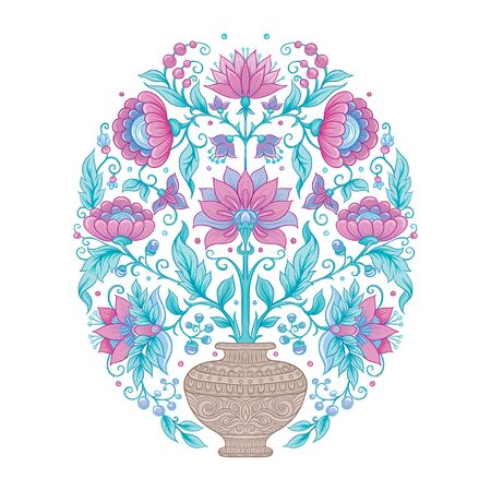 Tradition mughal motif, fantasy flowers in retro, vintage style. Element for design. Vector illustration. Isolated on white background.. Reklamní fotografie - 133894762