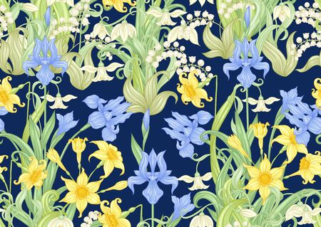 Spring flowers. Narcissus, Iris, lily of the valley, may-lily, Seamless pattern, background. Vector illustration. In art nouveau style vintage, old, retro style On navy blue background 向量圖像