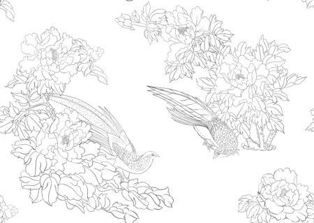 Branche d'arbre de pivoine avec des fleurs avec des faisans dans le style de la peinture chinoise sur soie Modèle sans couture, arrière-plan. Décrire l'illustration vectorielle de dessin à la main..
