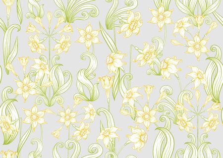 Narcissus. Seamless pattern, background. Colored vector illustration. In art nouveau style, vintage, old, retro style. In soft yellow colors. On soft grey background 向量圖像