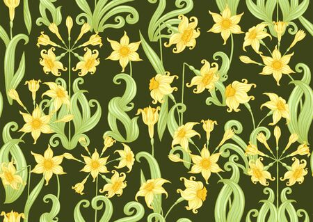 Narcissus. Seamless pattern, background. Colored vector illustration. In art nouveau style, vintage, old retro style. In soft yellow colors. On army green background