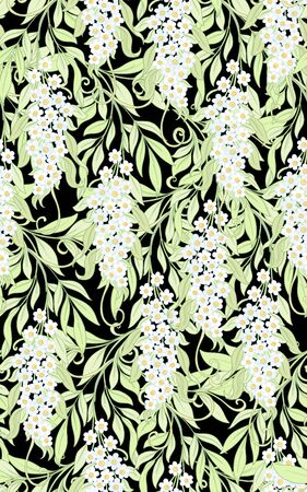 Seamless pattern, background with acacia. Soft spring floral background. Colored vector illustration. 일러스트