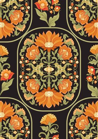 Tradition mughal motif, fantasy flowers in retro, vintage style. Seamless pattern, background. Vector illustration in beige and orange colors. Reklamní fotografie - 133895008