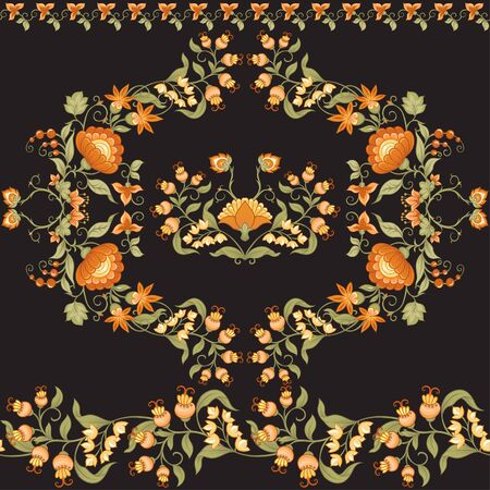 Tradition mughal motif, fantasy flowers in retro, vintage style. Seamless pattern, background. Vector illustration in beige and orange colors. Reklamní fotografie - 133895017