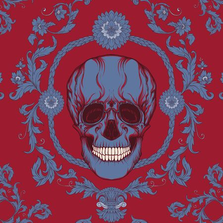 Seamless pattern, background In baroque style with human skull. Trendy floral vintage pattern in red add blue vector illustration Ilustrace