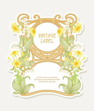 Narcissus, lily of the valley. Label, border. Good for product label. with place for text Colored vector illustration. In art nouveau style, vintage, old, retro style. Isolated on white background.. Foto de archivo - 134434159