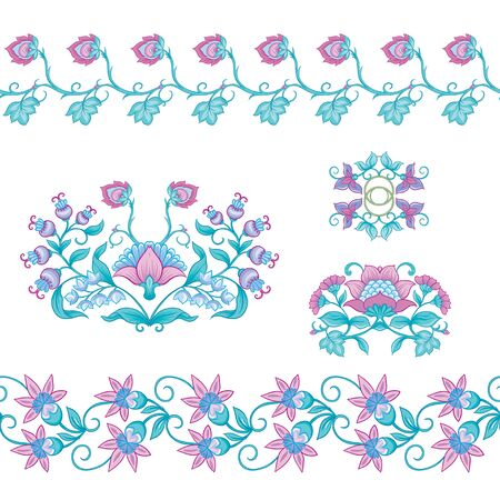 Tradition mughal motif, fantasy flowers in retro, vintage style. Element for design. Vector illustration. Isolated on white background.. Reklamní fotografie - 133895330