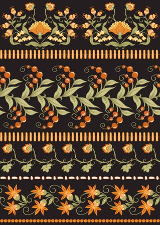 Tradition mughal motif, fantasy flowers in retro, vintage style. Seamless pattern, background. Vector illustration in beige and orange colors. Ilustrace