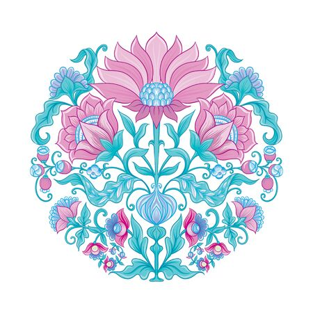 Tradition mughal motif, fantasy flowers in retro, vintage style. Element for design. Vector illustration. Isolated on white background.. Reklamní fotografie - 133895354