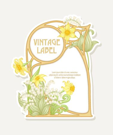 Narcissus, lily of the valley. Label, border. Good for product label. with place for text Colored vector illustration. In art nouveau style, vintage, old, retro style. Isolated on white background..