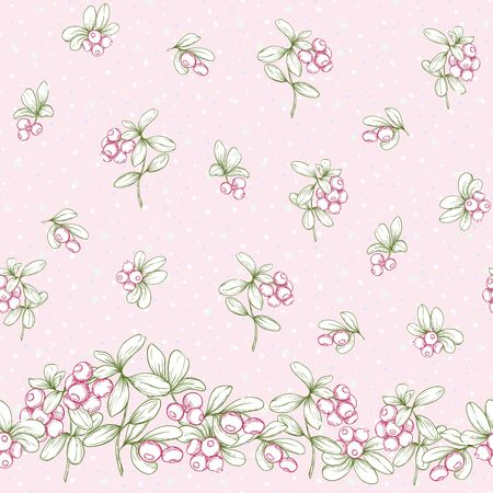 Cranberry and snow. Seamless pattern, background. Graphic drawing, engraving style. Vector illustration