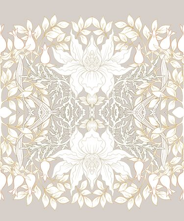 Floral Seamless pattern, background with In art nouveau style, vintage, old, retro style. Colored vector illustration.. Ilustração