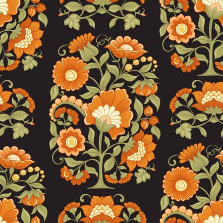 Tradition mughal motif, fantasy flowers in retro, vintage style. Seamless pattern, background. Vector illustration in beige and orange colors. Stock Illustratie
