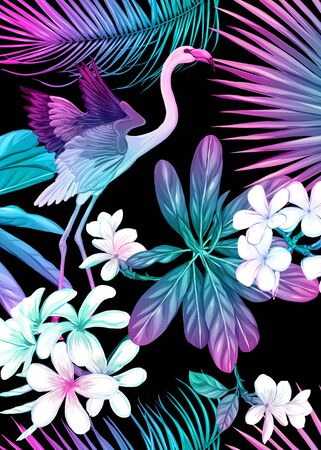 Background, wallpaper, cover with tropical plants, flowers and birds in neon, fluorescent colors. Vector illustration. Isolated on black background.