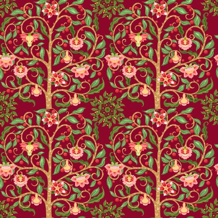 Seamless pattern with stylized ornamental flowers In soft orange and green colors. Jacobean embroidery. Colored vector illustration In soft orange and green colors. On red background.