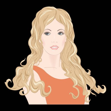 Portrait of a woman with long hair. Colored vector illustration. Isolated on black background