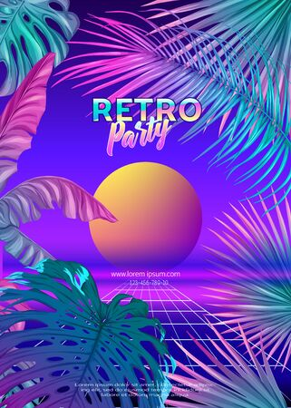 ..Retro Futurism. Vector futuristic synth wave illustration. Rave party Flyer design template, background with tropical plants in 1980s style. 80s Retro poster, retrowave Иллюстрация
