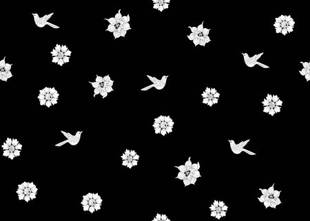 Floral Seamless pattern, background with bird In art nouveau style, vintage, old, retro style. Black and white graphics. Vector illustration. Standard-Bild - 134677086