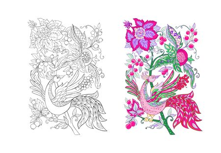 Floral decorative elements in jacobean embroidery style, fantasy floral pattern with bird, vintage, old, retro style. Isolated on white background. Colored and outline design. Vector illustration.