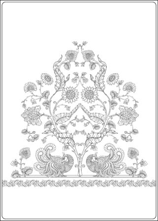Indian ethnic pattern with stylized flowers. Outline hand drawing vector illustration. Coloring page for the adult coloring book.