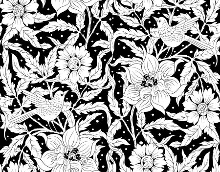 Floral Seamless pattern, background with bird In art nouveau style, vintage, old, retro style. Black and white graphics. Vector illustration.