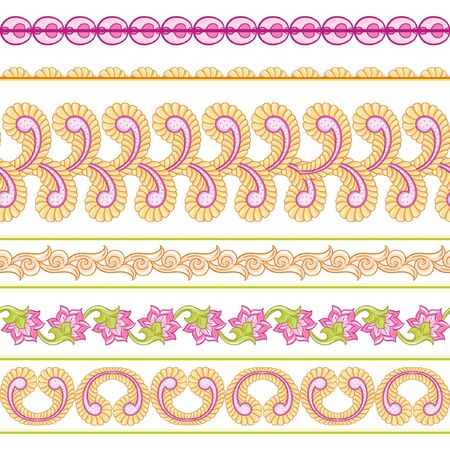 Seamless Indian floral ethnic pattern . Colored vector illustration. Isolated on white background. Illustration