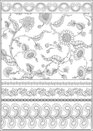 Indian ethnic pattern with stylized florwers. Outline hand drawing vector illustration. Coloring page for the adult coloring book