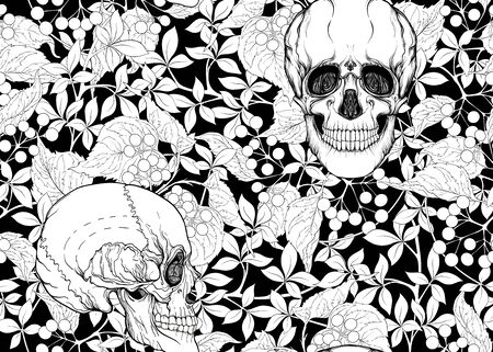 Seamless Pattern with human skulls and plants. Colored vector illustration. Line art.
