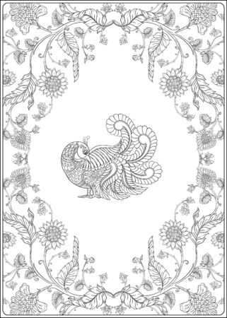 Indian ethnic pattern with stylized florwers and bird. Outline hand drawing vector illustration. Coloring page for the adult coloring book Ilustrace