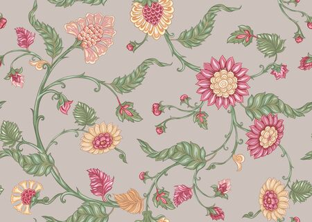 Seamless Indian floral ethnic pattern with bird. Colored vector illustration. On beige background.