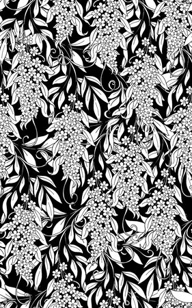 Seamless pattern, background with acacia. Black and white graphics. Vector illustration. In art nouveau style, vintage, old, retro style.