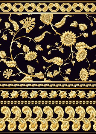 Indian ethnic pattern with stylized florwers. In gold and black.Vector illustration in gold colors. .