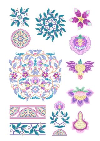 Pattern elements with stylized ornamental flowers in retro, vintage style. Jacobean embroidery. Colored vector illustration In pink, blue, ultraviolet colors. Isolated on white background.